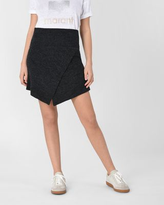 Blithe Asymmetric wool mini skirt