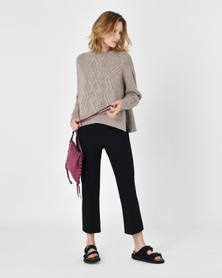 ISABEL MARANT LONG SLEEVE SWEATER D Elena Cable knit alpaca sweater r