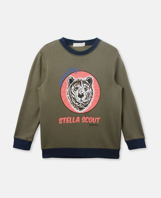 Biz Khaki Bear Print Sweater