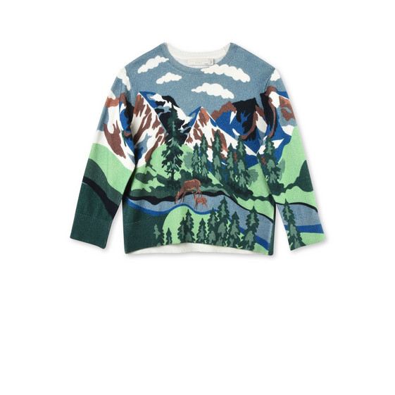 Cassius Blue Mountain Print Knit Jumper