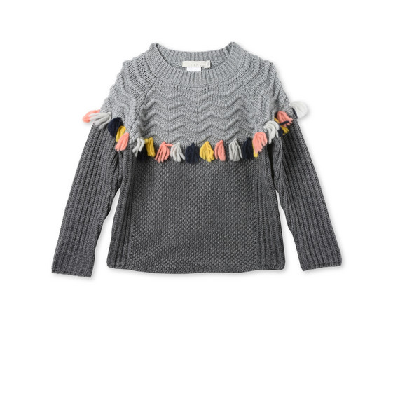 Tangerine Gray Tassel Sweater