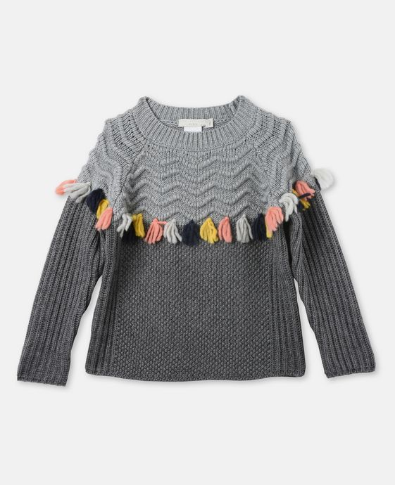 STELLA McCARTNEY KIDS Tangerine Gray Tassel Sweater Jumpers & Cardigans D c