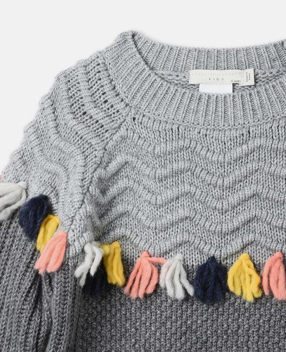 STELLA McCARTNEY KIDS Tangerine Gray Tassel Sweater Jumpers & Cardigans D h