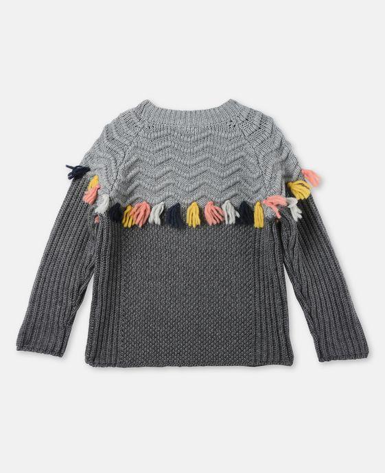 STELLA McCARTNEY KIDS Tangerine Gray Tassel Sweater Jumpers & Cardigans D i