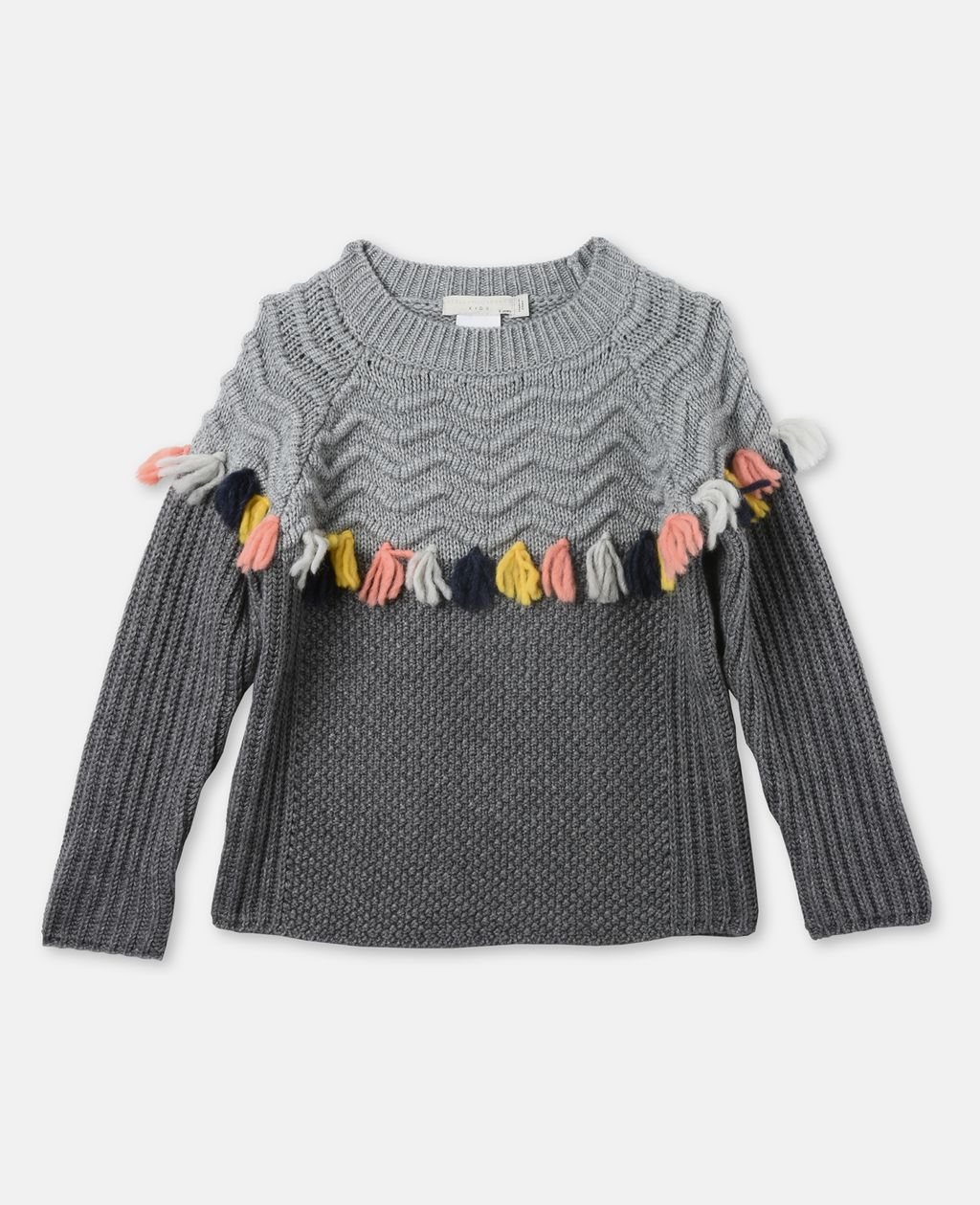 Tangerine Gray Tassel Sweater - STELLA MCCARTNEY KIDS