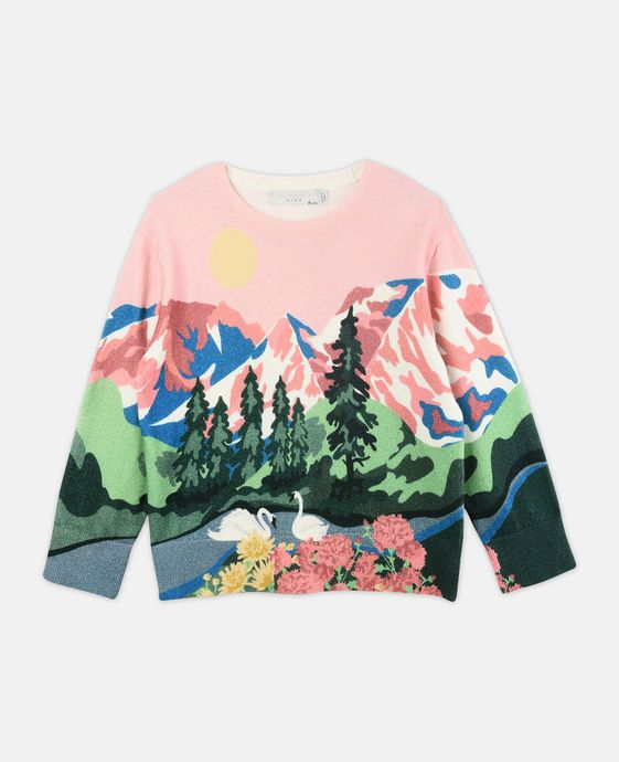 Cassius Pink Mountain Print Knit Sweater