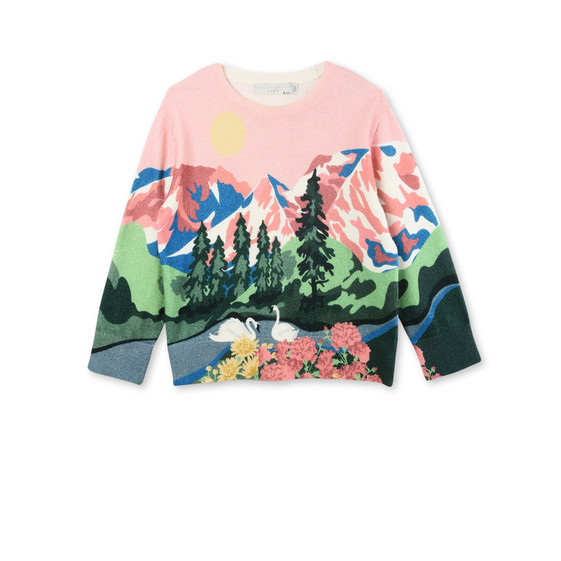 Cassius Pink Mountain Print Knit Jumper