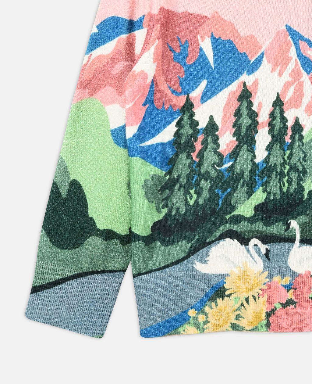 Cassius Pink Mountain Print Knit Sweater - STELLA MCCARTNEY KIDS