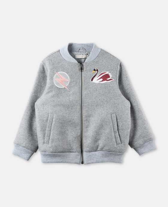 Dusty Gray Swan Patch Bomber Jacket