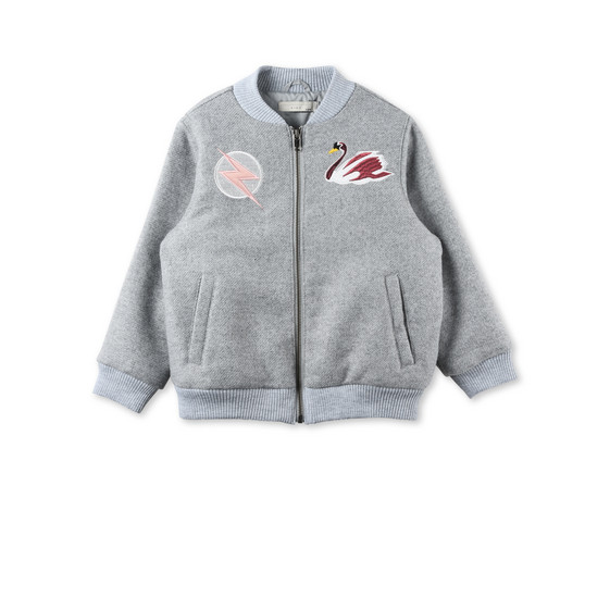 Dusty Grey Swan Patch Bomber Jacket