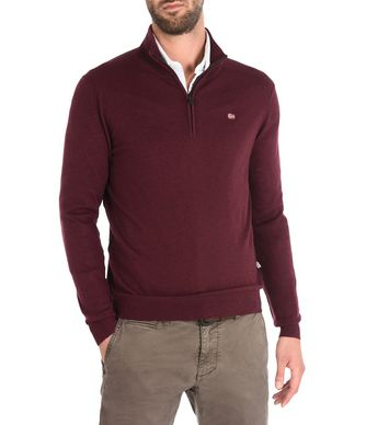 NAPAPIJRI DAMAVAND ZIP MAN ZIP SWEATER,MAROON