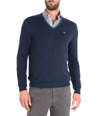 NAPAPIJRI DAKSHIN V NECK MAN V-NECK SWEATER,DARK BLUE