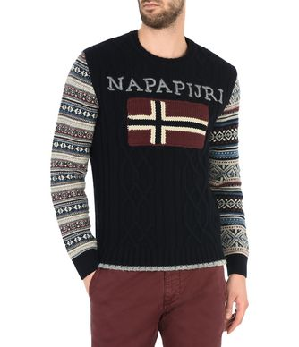 NAPAPIJRI DINGLE MAN CREWNECK SWEATER,DARK BLUE