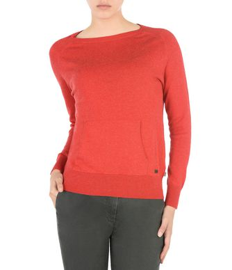 NAPAPIJRI DAME CANGAROO POCKETS WOMAN LONG SLEEVE JUMPER,RED