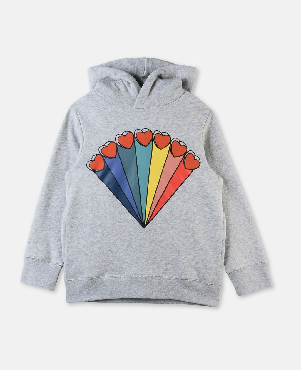 Heath Gray Rainbow and Hearts Printed Sweater - STELLA MCCARTNEY KIDS