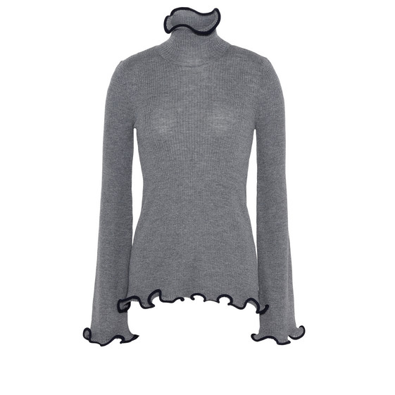 Grey Ruffled Turtle Neck Jumper