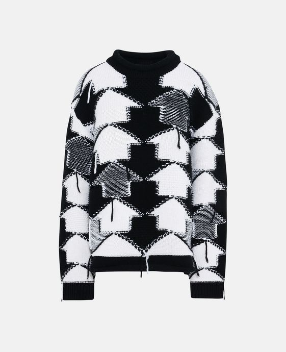 Black and White Check Volume Sweater