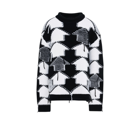Black and White Check Volume Sweater