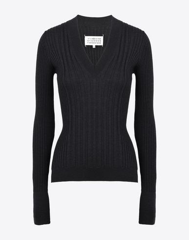 MAISON MARGIELA 4 Long sleeve sweater D Rib knit V-neck sweater f