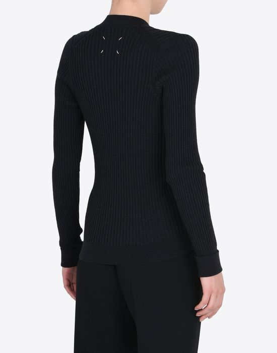 MAISON MARGIELA Rib knit V-neck sweater Long sleeve sweater Woman e