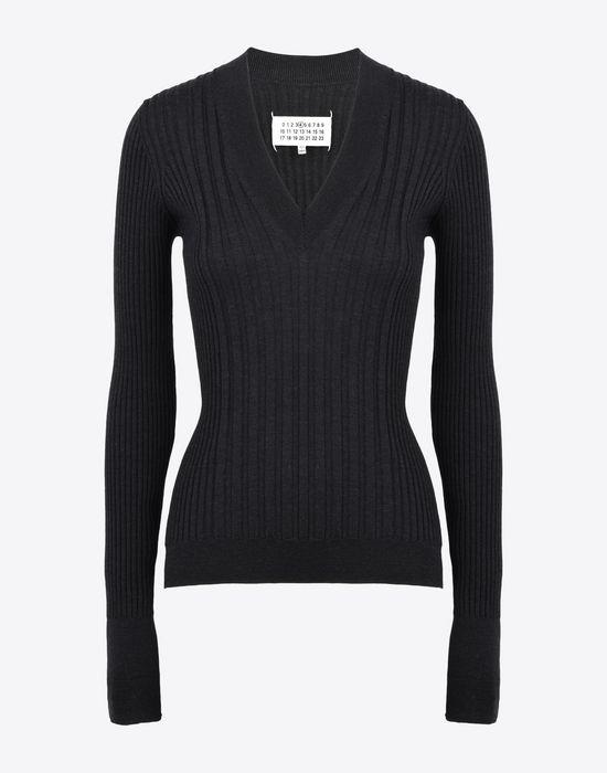MAISON MARGIELA Rib knit V-neck sweater Long sleeve sweater Woman f