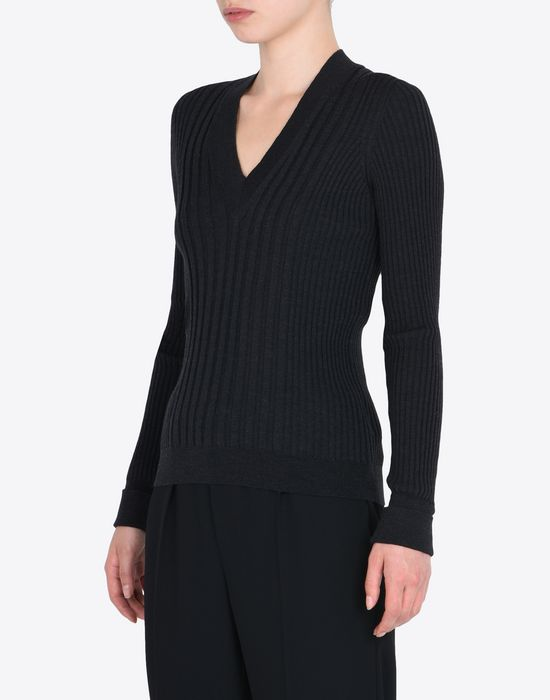 MAISON MARGIELA Rib knit V-neck sweater Long sleeve sweater Woman r