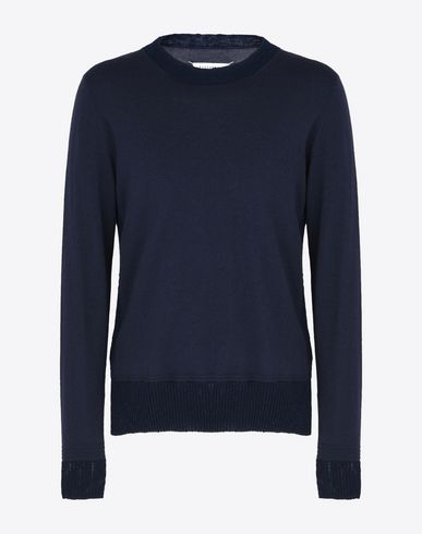 MAISON MARGIELA Crewneck sweater U Wool sweater with contrasting rib knit f