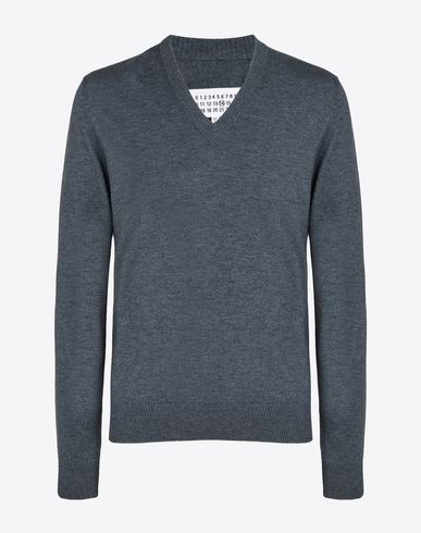 MAISON MARGIELA V-neck U V-neck cotton wool blend sweater f