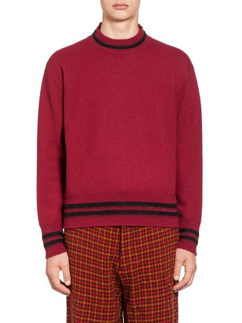 Marni Crew neck sweater in striped wool  Man