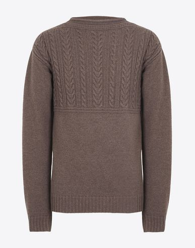 MAISON MARGIELA Crewneck sweater U Half cable knit wool sweater f