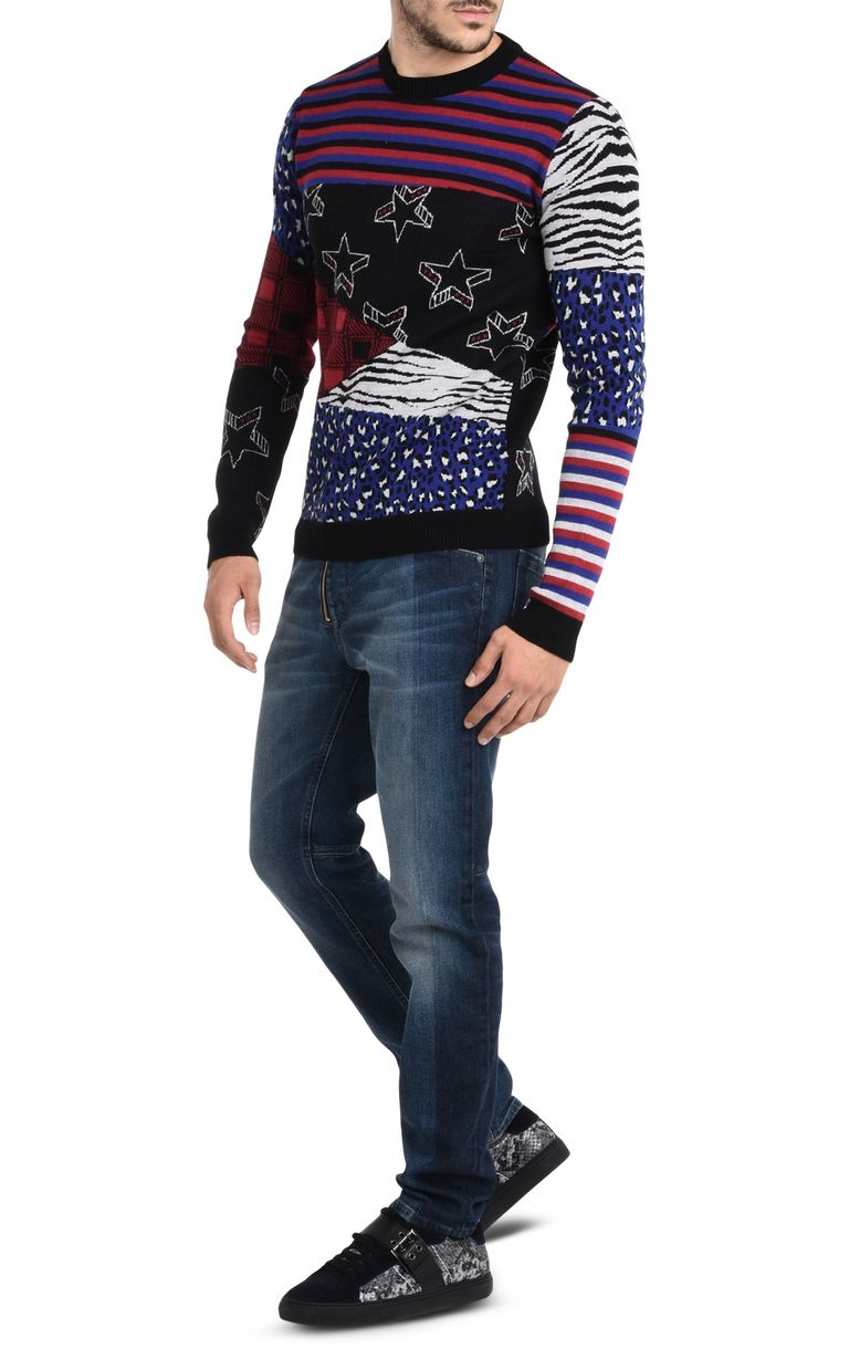 JUST CAVALLI Patterned design pullover Crewneck sweater Man r