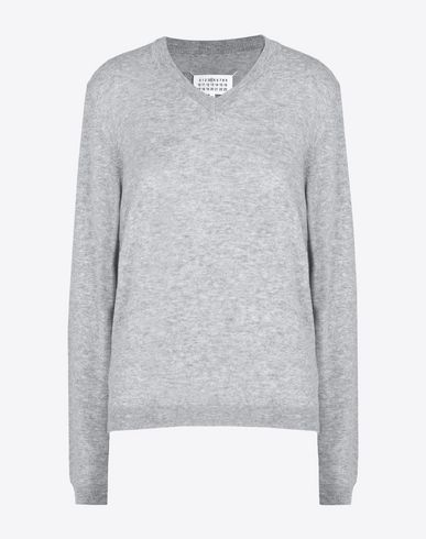 MAISON MARGIELA 4 Long sleeve jumper D V-neck sweater with elbow patches f