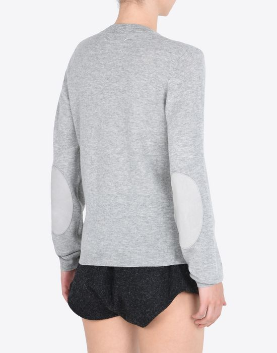 MAISON MARGIELA V-neck sweater with elbow patches Long sleeve sweater Woman e
