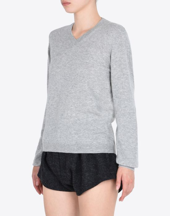 MAISON MARGIELA V-neck sweater with elbow patches Long sleeve sweater Woman r