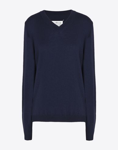MAISON MARGIELA Long sleeve sweater D V-neck sweater with elbow patches f