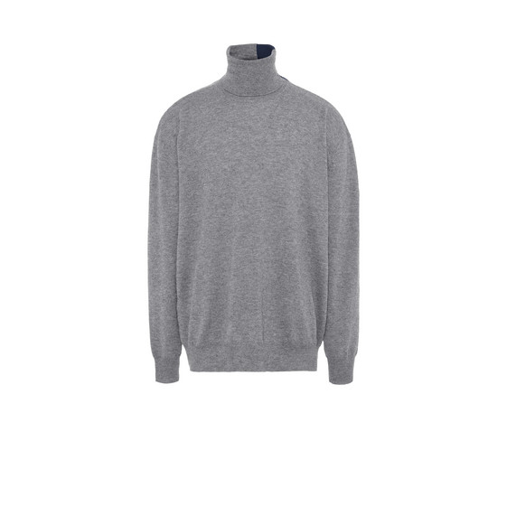 Grey Knit Turtleneck Jumper
