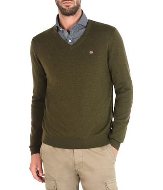 NAPAPIJRI DAMAVAND V MAN V-NECK SWEATER,MILITARY GREEN