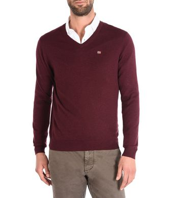 NAPAPIJRI DAMAVAND V MAN V-NECK SWEATER,MAROON
