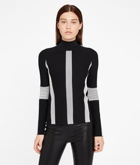 KARL LAGERFELD BLACK & WHITE OTTOMAN SWEATER