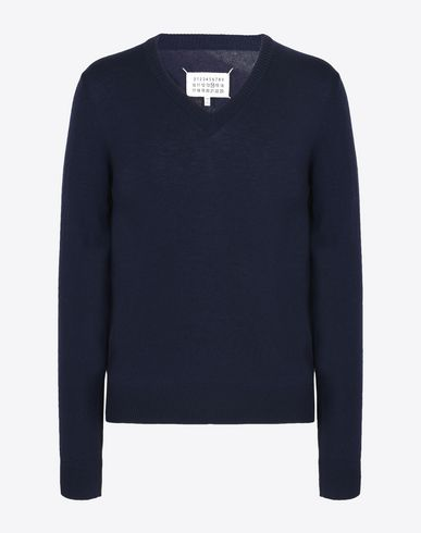 MAISON MARGIELA V-neck U V-neck wool sweater with elbow patches f
