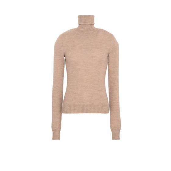 Beige Knit Turtleneck Sweater