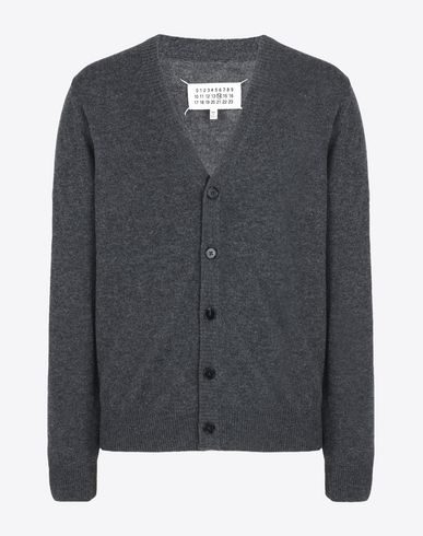MAISON MARGIELA Cardigan U Wool cardigan with calfskin elbow patches f
