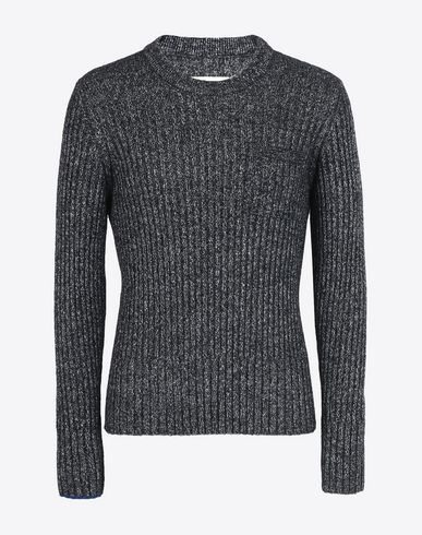 MAISON MARGIELA Crewneck sweater U Rib knit wool blend sweater f