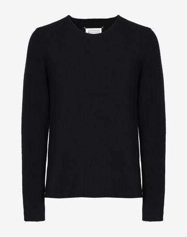 MAISON MARGIELA Crewneck sweater U Wool-cashmere sweater with elbow patches  f