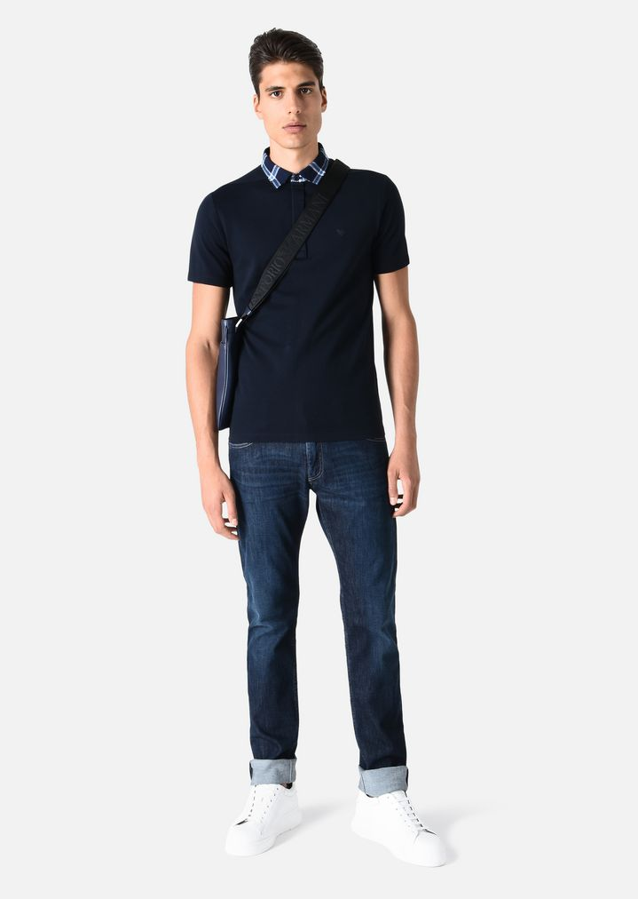 15b0ea48 SLIM FIT POLO SHIRT IN COTTON PIQUE WITH CHECK COLLAR | Man | Emporio Armani