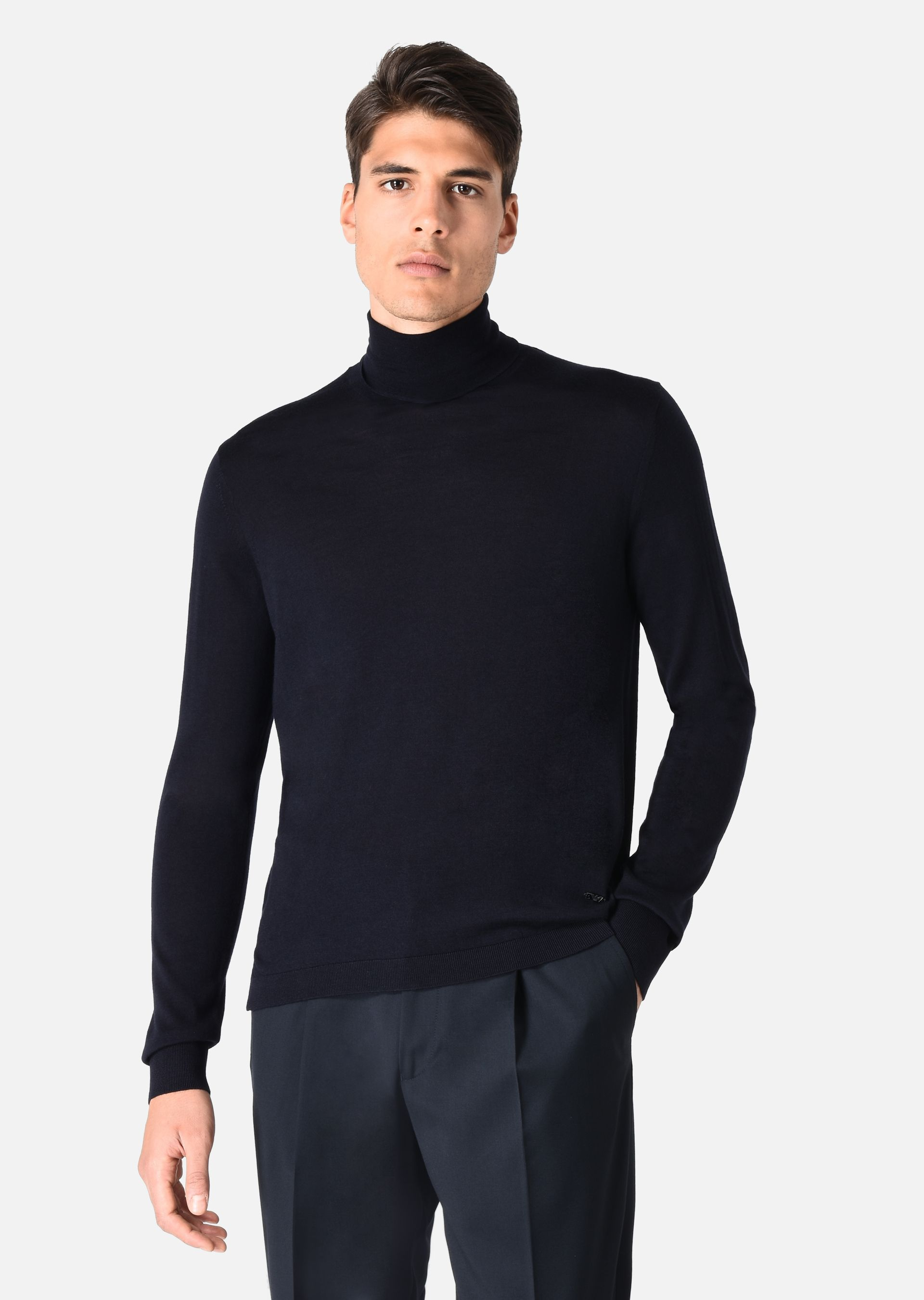 turtleneck sweater in wool jersey for men emporio armani. Black Bedroom Furniture Sets. Home Design Ideas