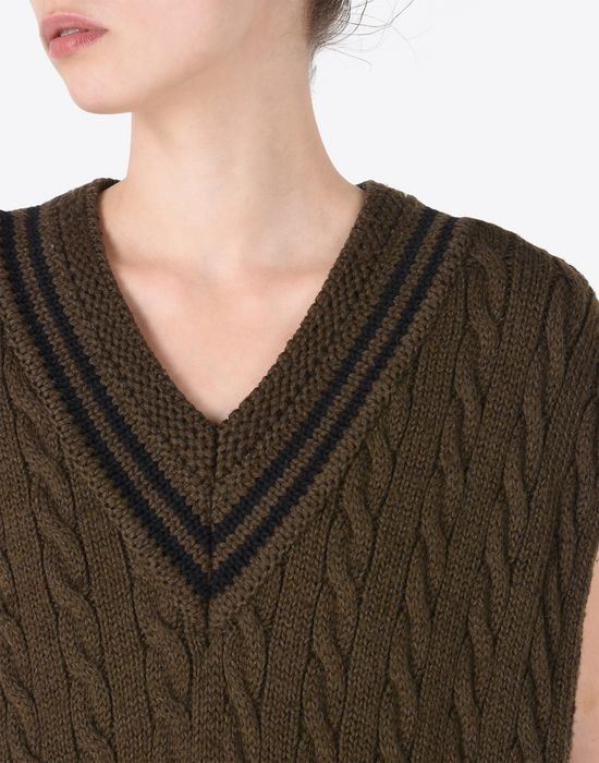MAISON MARGIELA Oversized sleeveless cricket sweater Sleeveless sweater Woman a