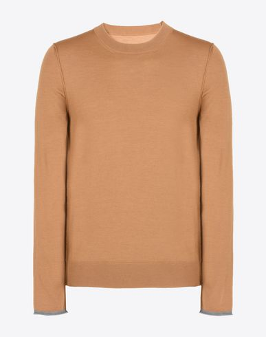 MAISON MARGIELA Crewneck sweater U Wool sweater with contrasting jersey detail f