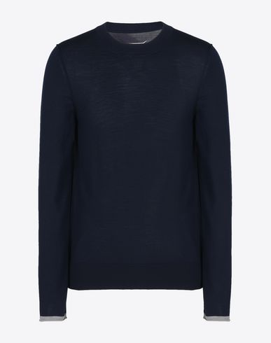 MAISON MARGIELA Crewneck U Wool sweater with contrasting jersey detail f