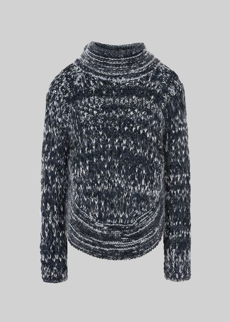 PONCHO SWEATER IN WOOL AND MOHAIR
